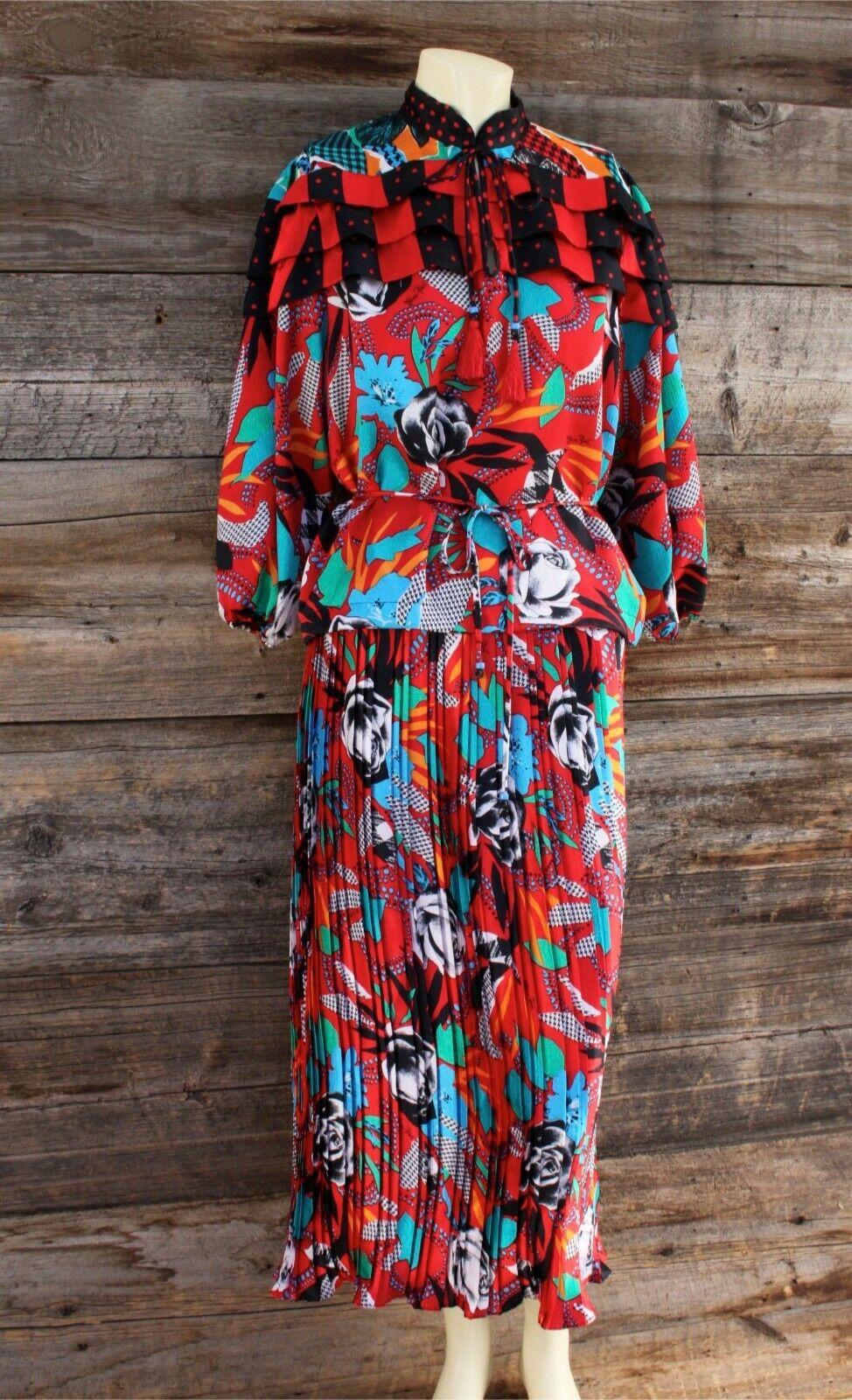 Vintage Diane Freis Two Piece Skirt & Top Dress w pinks Pattern One Size