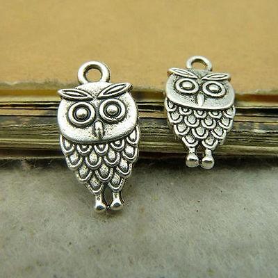 20x Tibetan Silver OWL Animal Pendant Charms Beads DIY Jewellery Accessories /30