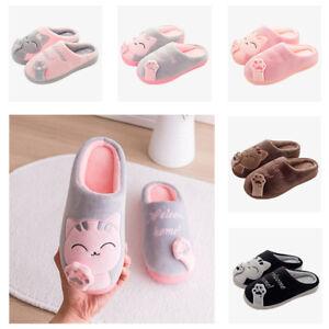 Pantofole-Scarpe-Gatto-Fumetto-Antiscivolo-Terra-da-Donna-Cotone-Pile-GOMMA