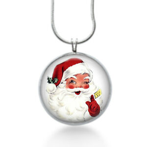 Santa-face-Necklace-Christmas-Pendant-Holiday-st-nick-jewelry-red-jewelry