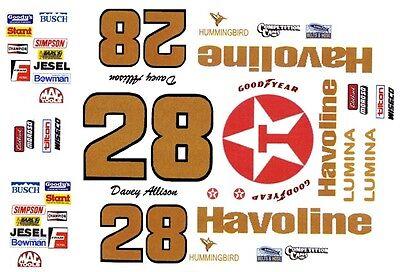 #28 Davey Allison Havoline Chevy 1/64th Ho Scale Waterslide Decals Maar Toch Niet Vulgair