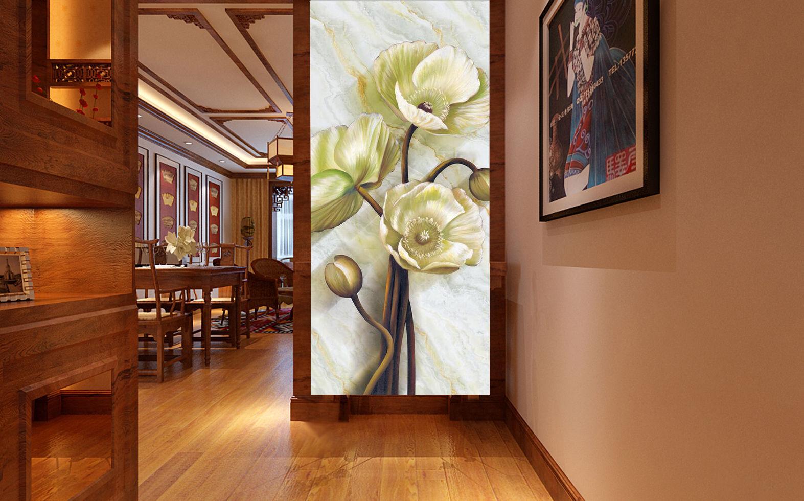 3D Gardnia Fleur 4 Photo Papier Peint en Autocollant Murale Plafond Chambre Art
