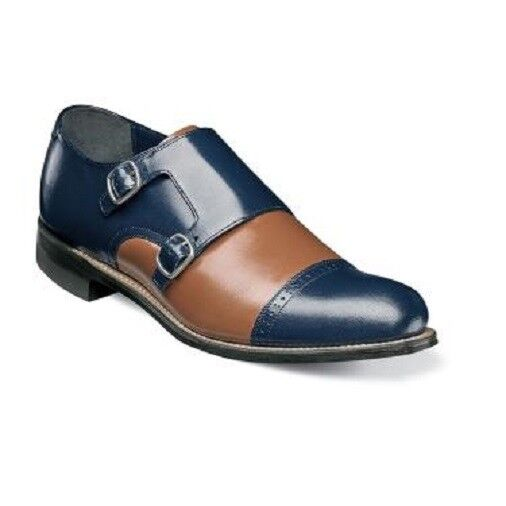 Stacy Adams Mens shoes Madison Cap Toe Double Monk Navy Oak Multi  00088-492