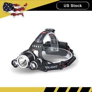20000Lm-Zoom-T6-3-LED-Headlamp-Hunting-Head-Light-Flashlight-Torch-18650-Charger