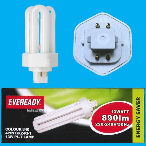 13W GX24Q-1 4 Pin CFL PL-T Double Turn Light Bulb 4000k Cool White Lamp