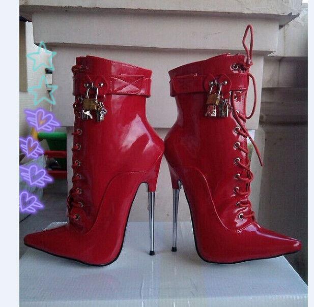 Para mujeres 18cm 18cm 18cm Metal Tacón Aguja Charol botas al Tobillo Zapatos Puntera En Punta eae522