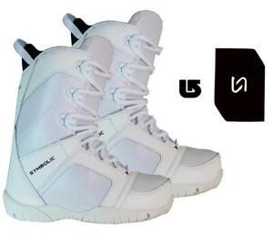 Symbolic-Ultra-Lite-Snowboard-Boots-Mens-White-Size-5-6-7-8-9-Stomp-Burton-decal