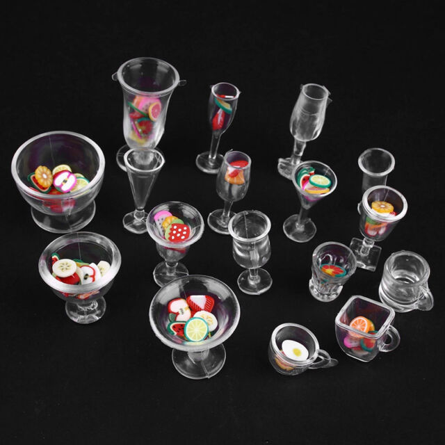Lovely New 17pcs Mini Transparent Drink  Cups Dish Tableware Miniatures DIY Toys