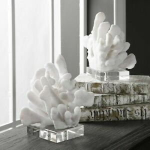 Modern Art Coastal Beach Sculpted Faux Coral Bookends Uttermost Crystal Base 792977175491 Ebay