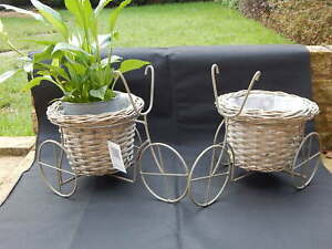 TWO Tricycle Bicycle Bike Planters Metal Frame Wicker Basket New Plant Pot