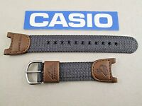 Casio Pathfinder Pas-400b Fishing Timer Watch Band Brown Leather Grey Nylon