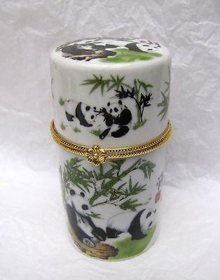 Chinese White Porcelain Bamboo Pole panda Toothpick box #5442