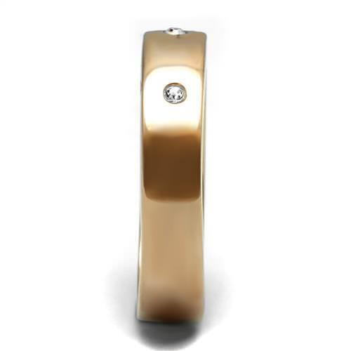 Anillo con oro rosa 5mm CZ Cubic Zirconia tachonado de Boda Acero Inoxidable 3107
