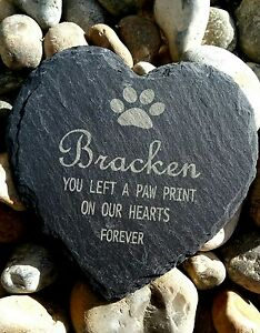 Personalised-Engraved-Slate-Stone-Heart-Pet-Memorial-Grave-Marker-Plaque-Dog