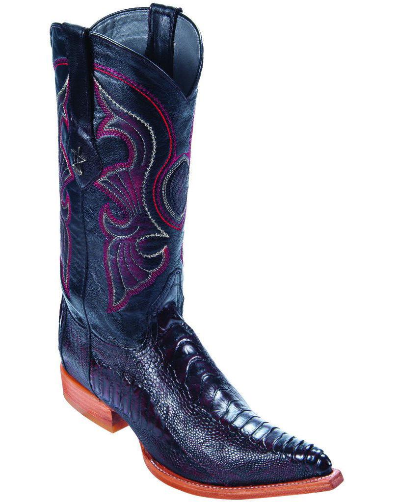 LOS ALTOS CHERRY GENUINE OSTRICH LEG 3X TOE WESTERN COWBOY BOOT D