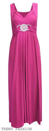 WOMENS PLUS SIZE BUCKLE MAXI EVENING PARTY FORMAL BRIDESMAID LADIES DRESS