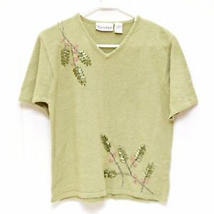 1573f28f044d3 Image is loading TanJay-Womens-Sweater-Small-Short-Sleeve-Sage-Green-