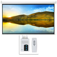 """100"""" Electric Motorized Remote Projection Screen HD Movie Projector 16:9"""