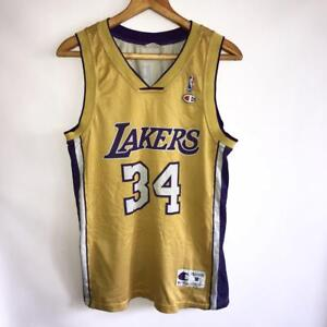 newest 081a7 d42bc Details about VINTAGE LOS ANGELES LAKERS NBA #34 SHAQUILLE O'NEAL SHIRT  JERSEY CHAMPION SIZE M