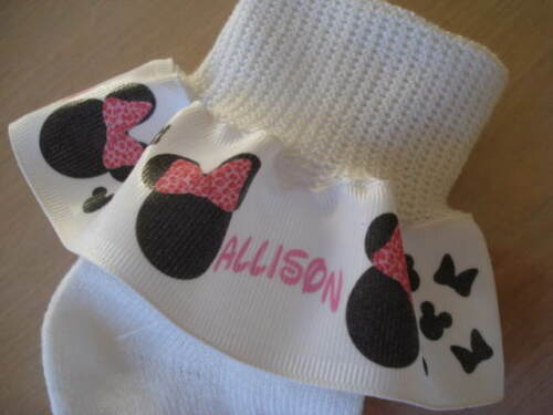 RUFFLE RIBBON SOCKS PERSONALIZED  MTM Mouse Head Pink Leopard Bow Girls Pageant
