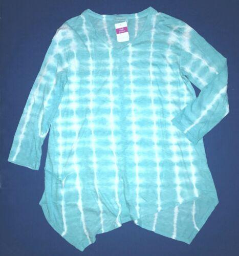 FRESH PRODUCE Medium Luna Blue Soleil Hand Dyed ELLA Pocket TUNIC Top $69 NWT M
