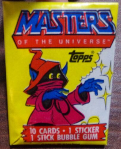 HE MAN HEMAN MASTERS OF THE UNIVERSE MOTU WAX PACK TRADING CARDS ORKO MINT RARE