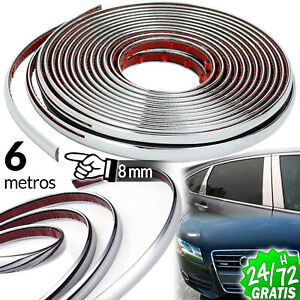 TIRA-CROMADA-EMBELLECEDOR-PLATA-8-MM-X-6-M-MOLDURA-ADHESIVA-STRIP-TRIM-CHROME