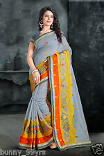 Bunny Ethnic Designer Fancy Grey Color Embroidered Work Cotton Catalog Sarees