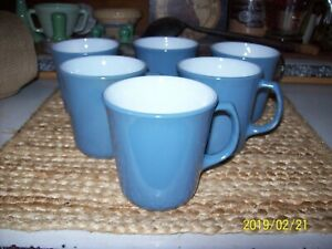 Lot Of 6 Vintage Pyrex Coffee Mugs Cups