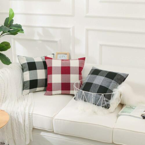 "2 Black Buffalo Check Pillow Covers Plaid Farmhouse 18/"" Home Decor Cushion Cover"