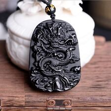 Natural Black Obsidian Hand Carved Blessing PiXiu Lucky Pendant Beads Necklace