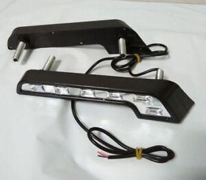 2x-White-6-LED-Universal-Car-SUV-Driving-Lamp-Fog-12V-DRL-Daytime-Running-Light