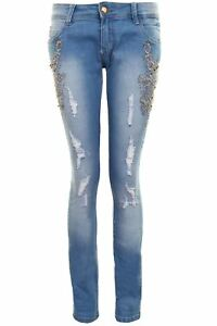 dc6c6826b0f40 Image is loading Womens-Skinny-Skin-Tight-Low-Rise-Diamante-Ripped-