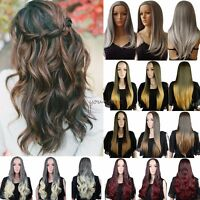 Long Curly Straight 3/4 Full Head Wigs Clip In Hairpiece Half Hair Style Wig C13