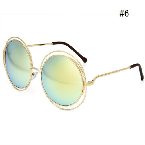 Vintage Gold Silver Frame Oversized Round Sunglasses Women Mirror Sun Glasse new