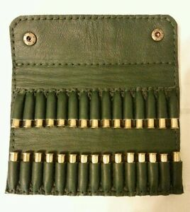 22  LR 22 rimfire Bullet wallet 30 round  Green real leather with studs - Tipton, United Kingdom - 22  LR 22 rimfire Bullet wallet 30 round  Green real leather with studs - Tipton, United Kingdom
