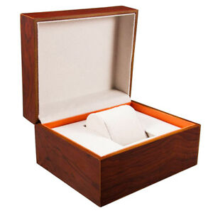 Orange-Wooden-Wrist-Watch-Presentation-Box-Case-Storage-Organiser-Gift-Men