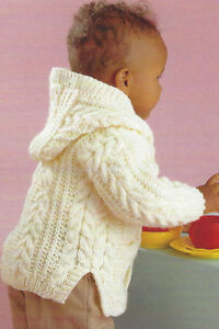 Baby-Child-Aran-Cable-Jackets-Hood-Boy-Girl-0-8-Yrs-Knitting-Pattern