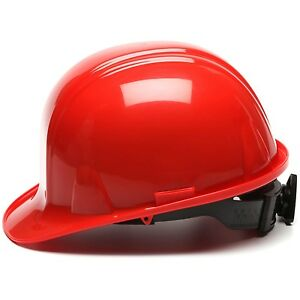 PYRAMEX HARD HAT CAP STYLE WITH 4 POINT RATCHET SUSPENSION, RED