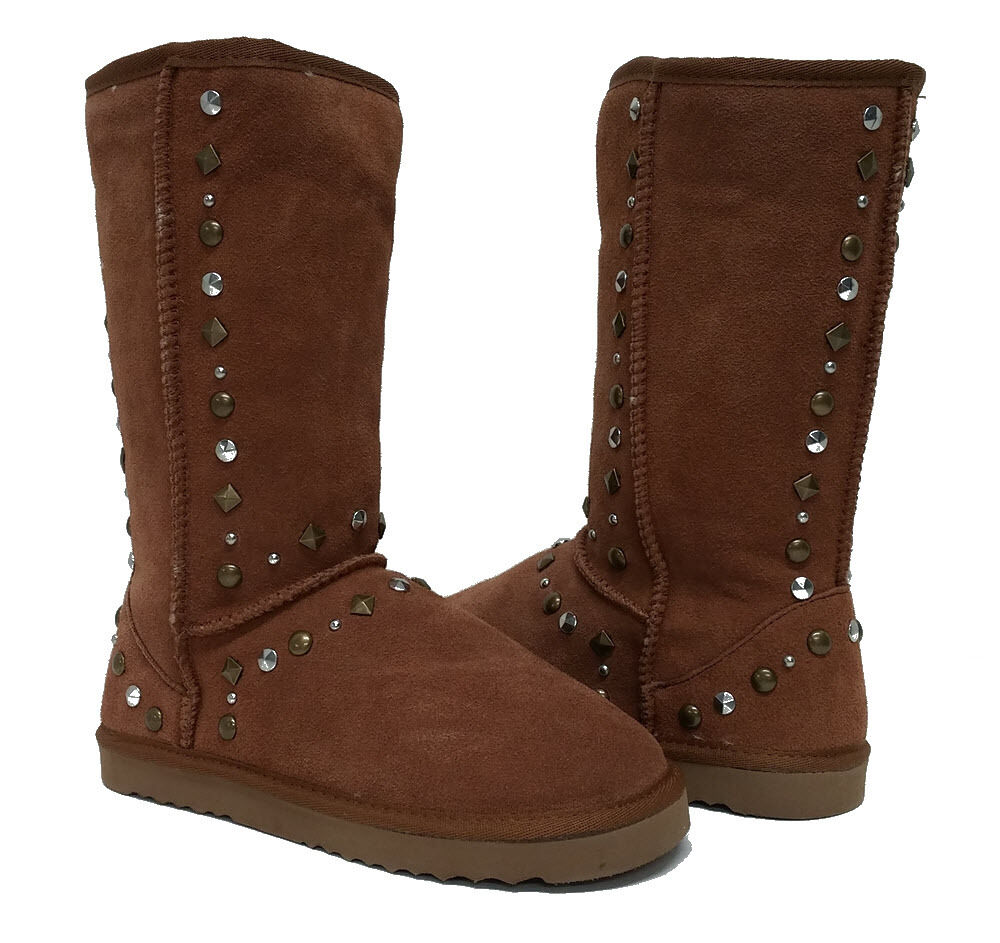NIB Style&co. Braun Suede Gold + Silver Embellished Flat Winter Stiefel 6 M (S534)