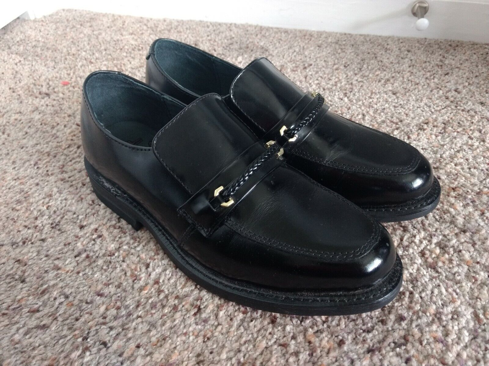 Executive Imperials Mens Size 9 E2 Black Leather Slip On Loafers shoes