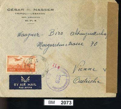 Bm2073, Libanon, 1952, Tripoli - Wien, Luftpost Mit Alliiertem Zensurstempel