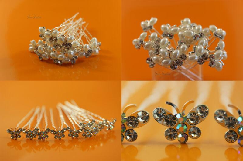 10 X Haarnadeln Braut Hochzeit Haarschmuck Schmetterling Strass Perlen B002