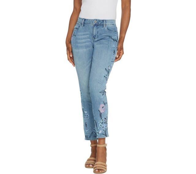 Laurie Felt Classic Denim Embroidered Slim Leg Jeans Pants Chambray Size 8 QVC