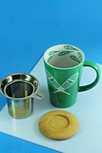 David's Tea Cup, Mug With Strainer Filter And Lid. Snowshoe Design. 12 oz.