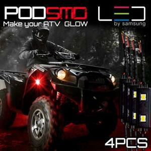 For Yamaha Four Red Led Pods Lights Rock Light Atv Utv Ebay