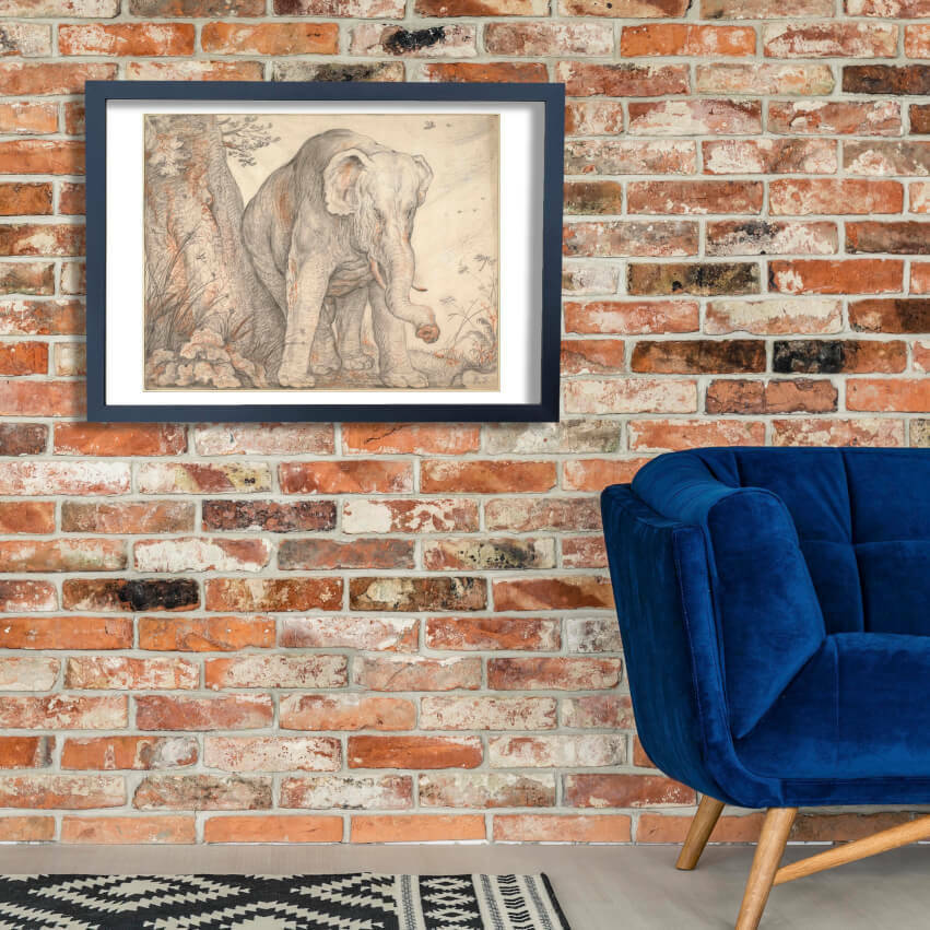 Roelant Savery - An Elephant Rubbing Itself against a Tree Wall Art Poster Print