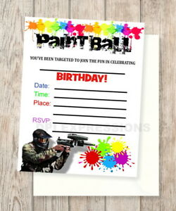 paint ball fill in blank invitations paintball set of 20 invites