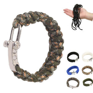 Survival Rope Blue Paracord Bracelet Outdoor Camping Hiking Steel Shackle