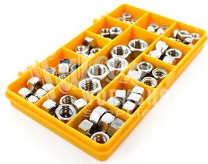 """Industrieux 70 Assorted Piece Zinc Unc Full Nyloc Indicateur De Durée Nuts 3/8"""" 1/4"""" 5/16"""" 1/2"""" Nut Kit-afficher Le Titre D'origine"""